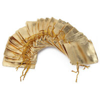 50 Sac Cadeau Sachet Pochette doré Organza Bijoux bonbon Rangement Tissu jko