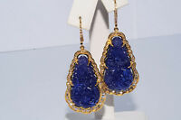 $35,800 65.98Ct Natural Hand Carved Tanzanite & Diamond Earrings 14K Yellow Gold