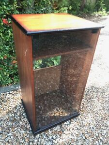 Vintage Wooden Hi-Fi Stereo Cabinet with Glass Door