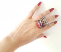 Large hematite & red diamante elasticated skull & sword fashion ring