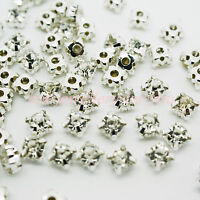 Sew on Diamante Rhinestone Crystal Clear Silver Setting Glass Metal Wedding Deco