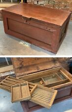Antique Carpenter Toolbox Tool Box Chest Handmade Compartments Primitive