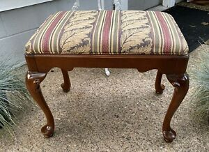 Vintage Ethan Allen Queen Anne Upholstered Bench/Stool Solid Cherry #20-7443