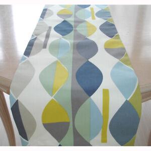 "4ft Table Runner Blue Grey Green Yellow Ochre 48"" Retro Mid Century Modern"