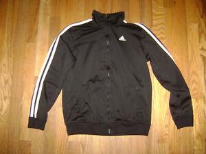 Adidas BOYS GIRLS Black White Stripe Fullzip Jacket Training Sz 10/12 Sweatshirt