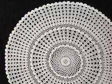 "Handmade 19"" 48cm crochetlarge ecru vintage doilie doily doiley round."