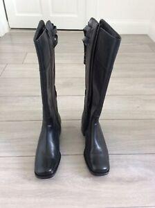 Clarks Kerry Mia Black Leather & Elasticated Calf Knee High Boots UK Size 6.5E