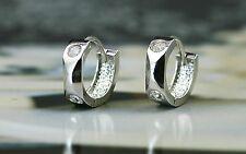 925 Sterling Silver Cubic Zirconia Fancy Huggie Hoop Earring - Children & Women