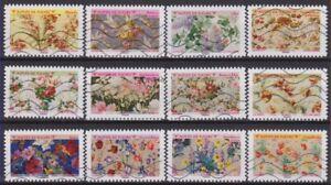 France 2021 : les 12 timbres du Carnet - Motifs de fleurs - oblitérés