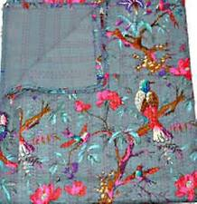 Indian Kantha Twin Quilt Handmade Patchwork Reversible Bedspread Blanket Throw`