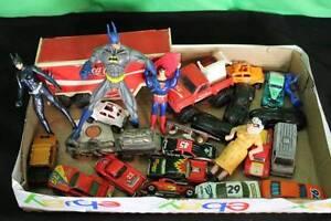 Lot Box Of Toys Batman Superman Hotwheels Matchbox Collectible Cars Figurines