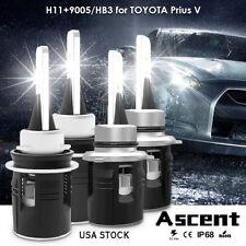 Combo H11 9005 HB3 LED Headlight Kit Bulb Highpower For Toyota Prius V 2017-2015