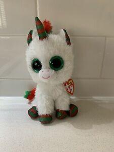 """Snowfall Unicorn Christmas 6"""" 15cm Ty Beanie Boos"""