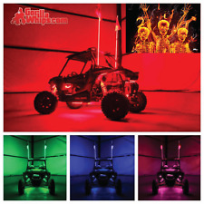 LED Lighted 6' Whip with WIRELESS Remote- ATV UTV RZR w/Flame Party Flag