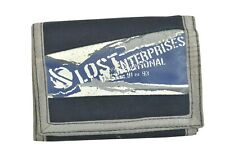 Lost RIPOFF Navy Blue Grey White Graphic Logo Zip Pocket Tri-Fold Men's Wallet