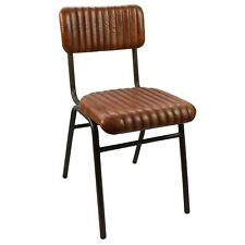 More details for industrial vintage dining chair brown ribbed leather metal bar restaurant