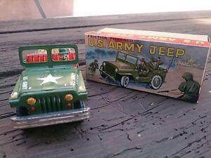 VTG 1960's TIN LITHO FRICTION POWERED US ARMY JEEP & ORIGINAL BOX YONE JAPAN NM