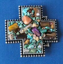 Desert Sand Trophy Belt Buckle Polished Antique Pewter Finish turquoise stones