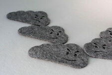 Cloud Grey Felt  Coaster with funny face Set of 6