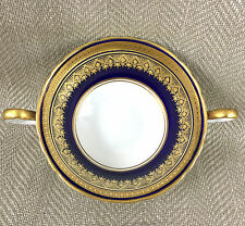 Aynsley Simcoe Cobalt Blue Gold Twin Handled Soup Bowl English China