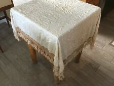 ANTIQUE IVORY SILK EMBROIDERED FLORAL SHAWL WITH FRINGE MUST SEE NO RESERVE