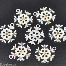 10Pcs Rhinestone Christmas Snowflake Charm Pendants Xmas Decoration