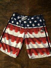 O/'NEILL board shorts swim trunk red white blue QUARTERS beer 30 31 34 38 FLAG