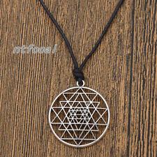 Sri Yantra Pendant Mandala Talisman Tantric Wealth & Good Luck Amulet Necklace