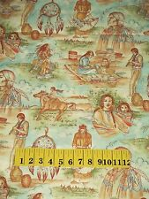 NATIVE AMERICAN INDIAN ~ LIFESTYLE SCENES Quilt FABRIC Coordinate Sold by ½ YARD