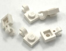 Lego 5 New White Plates Modified 1 x 1 with Clip Horizontal Pieces