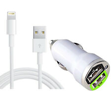 Dual Port Car Charger + Cable For iPhone 5 se 6 7 & 6Plus 7 Plus