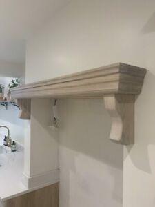 Oak Shelf with Corbels, Fireplace Solid Oak Beam, Lintel, kitchen aga overcooker