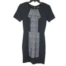French Connection Womens Size 0 Black White Body Con Short Sleeve Midi Dress