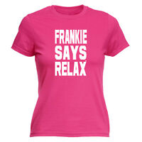 Funny Novelty Tops T-Shirt Womens tee TShirt - Solid White Frankie Says Relax