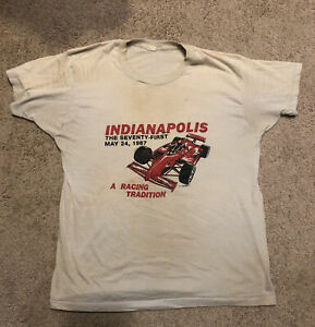 Vtg 80s Mens Medium Indy 500 Racing Beige T-Shirt F1 Formula 1 SEE CONDITION