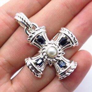 Judith Ripka 925 Sterling Silver Sapphire Gemstone & Real Pearl Cross Pendant