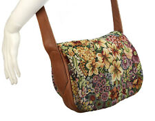Village Tannery Floral Tapestry & Tan Leather Crossbody Bag Designed by Sevestet