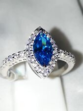 925 STERLING SILVER BEAUTIFUL   BLUE WHITE SAPPHIRE DRESS RING USA 8 EUR 56