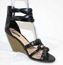 Forever 21 Black Strappy Platform Wedge Sandal Heels Size 7.5