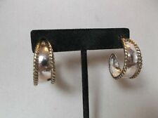 pierced earrings Signed Laton Mexico 925 and Brass Hoop
