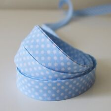 Polka Dot Spotty Bias Binding 18mm 1 or 3 Metres Assorted Colours Baby Blue 1 Metre