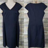 TALBOTS Size 6 Sheath Dress Navy Pinstripe Wool Blend Cap Sleeve Career Staple