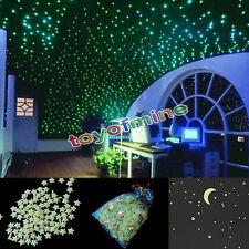 200pcs Glow In The Dark 3D Stars Moon Bedroom Home Wall Room Decor DIY
