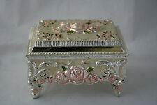 Jewelry Box Trinket Roses Raised Metal Enamel Silver Plated Pink Pearl White