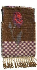 Antique Purse Micro Beaded Floral Rose Checker Handbag NO Clasp New unfinished