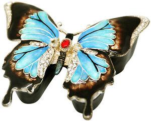 Ulysses Butterfly Jewelled & Enamelled Trinket Box - Figurine