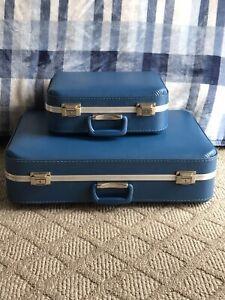2 Vintage Travel Suitcases Hard Body Luggage Blue Beautiful Set!