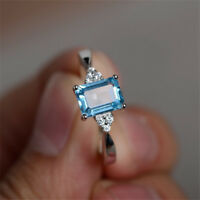 Trendy Aquamarine Women Men 925 Silver Ring Gift Wedding Engagement Size 6-10