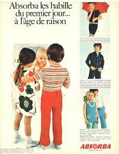 PUBLICITE ADVERTISING 105  1970  ABSORBA  vetements enfants