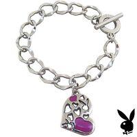 Playboy Bracelet Heart Bunny Charm Pink Enamel Toggle Platinum Plated Gift RARE